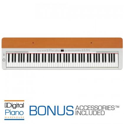 Yamaha P155 Digital Piano - Silver/Cherry